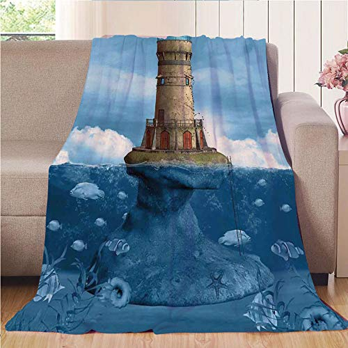Lighthouse Outdoor Accent Natural (Blanket Comfort Warmth Soft Air Conditioning Easy Care Machine Wash House,Lighthouse Decor,Lighthouse Seagulls Birds Architecture Maritime Reef Fish Undersea Scenic,,47.25