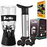 Elite Wine Aerator & Wine Preserver Set - Filter Decanter & Vacuum Saver Pump, 4 Bottle Stoppers, Gift Box & eBook -Innovative Experience for Wine Lovers- by BARILLIO
