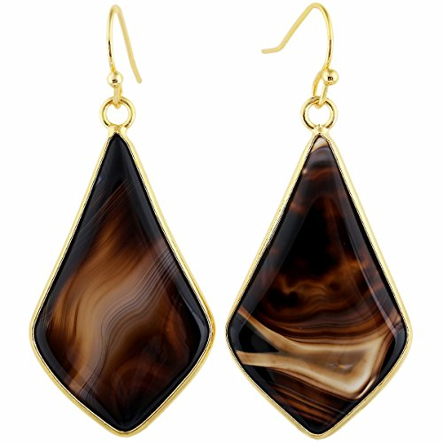 TUMBEELLUWA Crystal Quartz Stone Dangle Hook Earrings Rhombus Gold Plated, Banded Agate