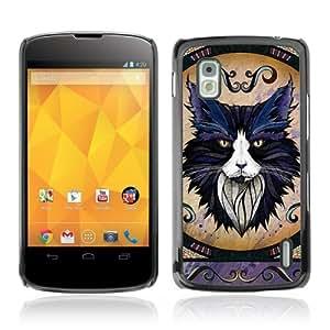 YOYOSHOP [Majestic Cat Illustration] LG Google Nexus 4 Case