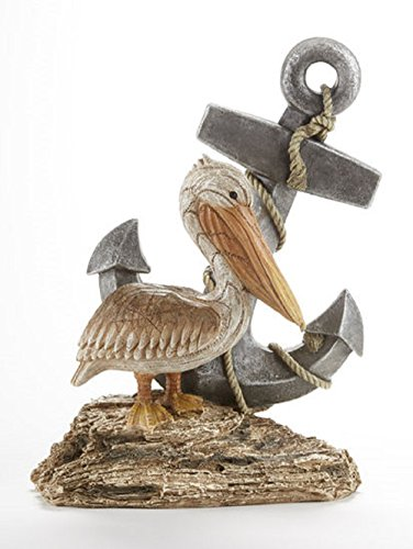 Delton Products 8.7 inches x 11.6 inches Resin Pelican Anchor Collectible Figurine -