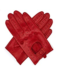 Harssidanzar Womens Leather Driving Gloves Unlined, Red, S
