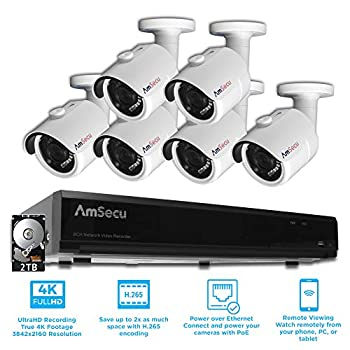 Image of AmSecu Network Video Recorder 1080P UltraHD 4K 8 Channel NVR Kit, 6 UltraHD 4K 8MP 3.6mm Lens POE Bullet Cameras, Included 2TB Hard Drive, Day and Night Vision IR IP66 Weatherproof h.265 Surveillance DVR Kits