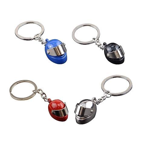 Doitsa 4pcs Llavero Casco de Moto 3D Keychain Original ...