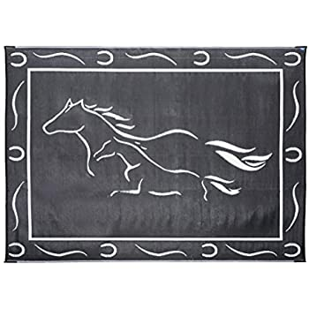 Stylish Camping GH8111 Black/White 8u0027x11u0027 Galloping Horses Mat