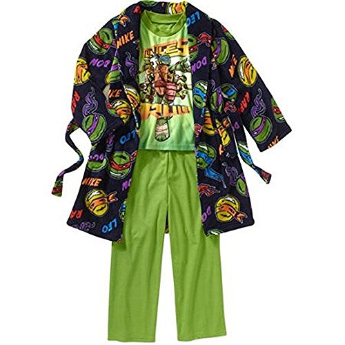 Teenage Mutant Ninja Turtles Boy's Fleece Robe and Flannel Pajama Set