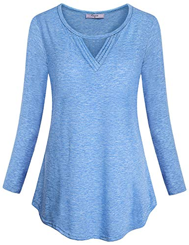 Cestyle Loose Fitting Tops for Women, Feminine Autumn Lightweight Breathable Knit T-Shirt Hi-Low Neck Long Sleeve Casual Tunic for Jeans Pregnant Street Wear Blue XX-Large