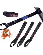 MAGMA 4 Kleine Spanbanden | Riemen met 2 metingen | 1000 Kgf / stuk | 30 cm lang | 25 mm breed | EN-12195-2 | Zwart | motorfiets riem | Zachte lussen voor fietsendrager, aanhanger, quad, ATV
