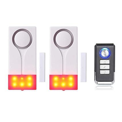 Mengshen Alarma de Puertas y Ventanas - Alarma Inalámbrica con 105db Sonido Fuerte y Luz Brillante, Fácil De Instalar (Incluye 2 Alarma y 1 Control ...