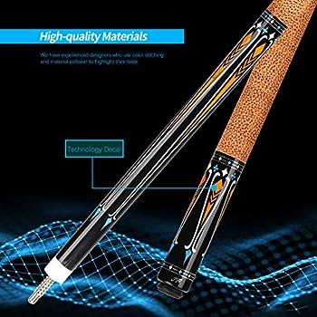 KONLLEN Carbon Fiber Pool Cue Stick Professional Cues Full Carbon Technology Low Deflection Billiard Cue Stick,12.5mm,147cm