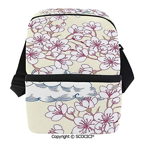 SCOCICI Reusable Insulated Grocery Bags Illustration with Cherry Blossoming Sakura and Floating Clouds Spring Flower Tree Art Thermal Cooler Waterproof Zipper Closure Keeps Food Hot Or Cold -