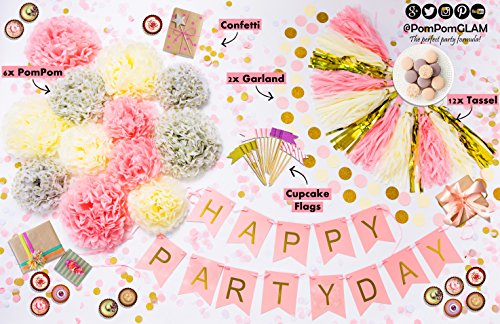 Adorable Pink and Gold Party Decorations Supplies Kit for Bridal or First Baby Girl Shower By PomPomGLAM Outside Christmas Decorations Ideas Pinterest
