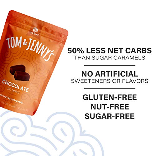 Tom & Jenny's Sugar Free Soft Caramel Candy with Chocolate and Sea Salt - Low Net Carb Keto Chocolate Candy - with Xylitol and Maltitol - (Chocolate Caramel, 1-pack) 7