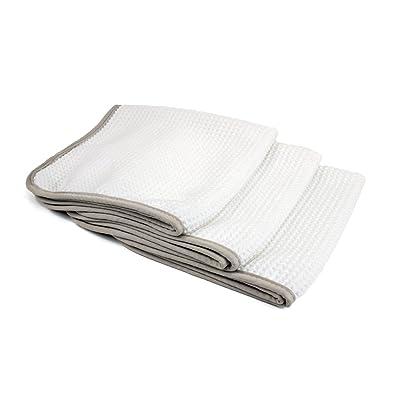 "[No Streak Freak] Microfiber Window and Mirror Waffle Towel (16""x16"") White - 3 Pack: Automotive"