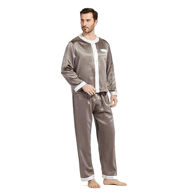 Lilysilk Pijamas Hombre Seda Escote Redondo 100% Seda De Mora De 22 Momme,Gris