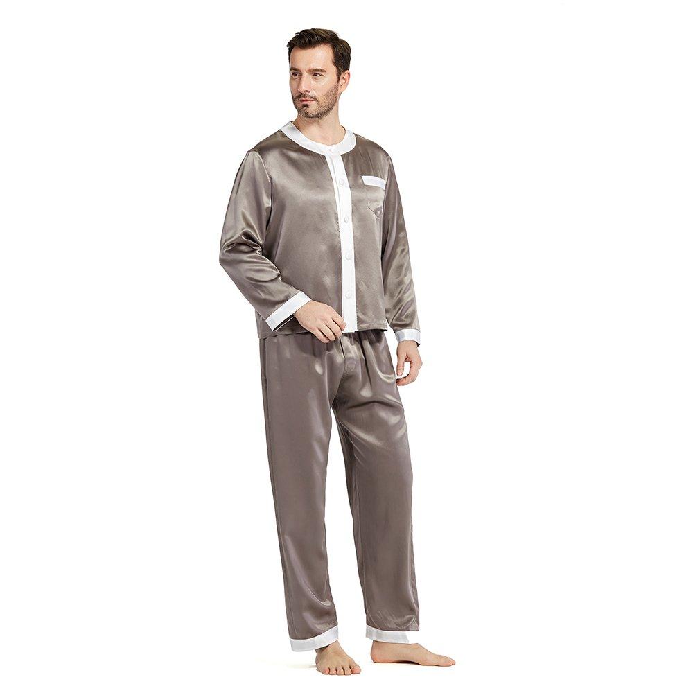 LILYSILK Silk Pajamas Set for Men Summer 22 momme Most Comfortable Sleepwear Dark Gray L