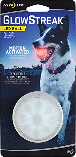 Nite Ize GlowStreak LED Dog Ball, Bounce-Activated Light Up Dog Ball, Replaceable Batteries, Red LED ()