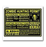 Alabama AL Zombie Hunting License Permit Yellow - Biohazard Response Team - Window Bumper Locker Sticker