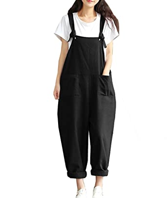 f2c89827f7c Amazon.com  Hotmiss Women Plus Size Baggy Linen Overalls Wide Leg Pants  Sleeveless Rompers Jumpsuit Waist Haren Pants  Clothing