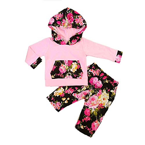 Newborn Baby Girl Clothes Long Sleeve Floral Hoodie Sweatshirt Top + Flower Pants Outfit with Kangaroo Pocket Clothes Set - Floral Girls Pullover