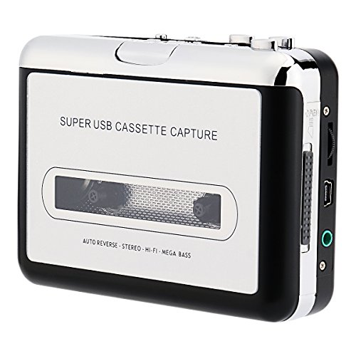 FORE USB Retro Cube Cassette/Tape Converter with PC, Laptop Convert Cassette to Mp3 Portable Cassette-To-MP3 Transfer Cassette Walkman Player with Battery Case Color Silver Grey