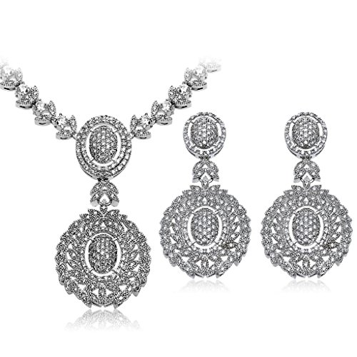 KnSam Women Platinum Plate Double Oval White Necklace Earrings Set Crystal [Novelty Bridal Jewelry Set] by KnSam
