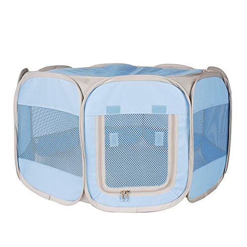 OTENGD Pet Portable Foldable Playpen with Mat- Exercise Kennel Removable Mesh Shade Cover Large Space Comfortable and Breathable for Dogs Cats Indoor Outdoor