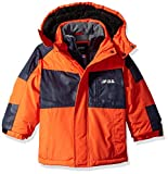 London Fog Boys' Little Mid-Length Winter Coat Jacket, Real Orange, 5/6
