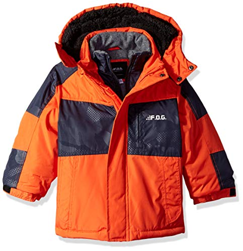 London Fog Boys' Little Mid-Length Winter Coat Jacket, Real Orange, 5/6 ()