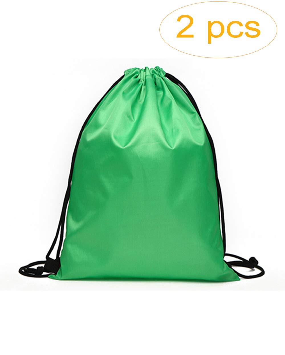 MepLife Waterproof Foldable Drawstring Tote Backpack Bags Bulk,Reusable Grocery Bag,Promotional Favor Bags, Budget Bag,Cinch Sack Back Pack String Bag for Sundries Storage Organizer (2 Green)