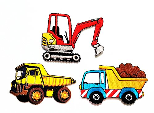 Haul Tractor (Nipitshop Patches Set of 3 Pcs Yellow Blue Heavy Truck Dump Truck Patch Red Backhoe Digger Tractor Loader Trackhoe Bulldozer Haul Dump Truck DIY Applique Embroidered Sew Iron on Patch for Clothes)