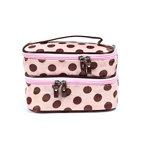 Price comparison product image CHOP MALL Traveling Makeup Bag, Dots Pattern, Double Layer Cosmetic Bag