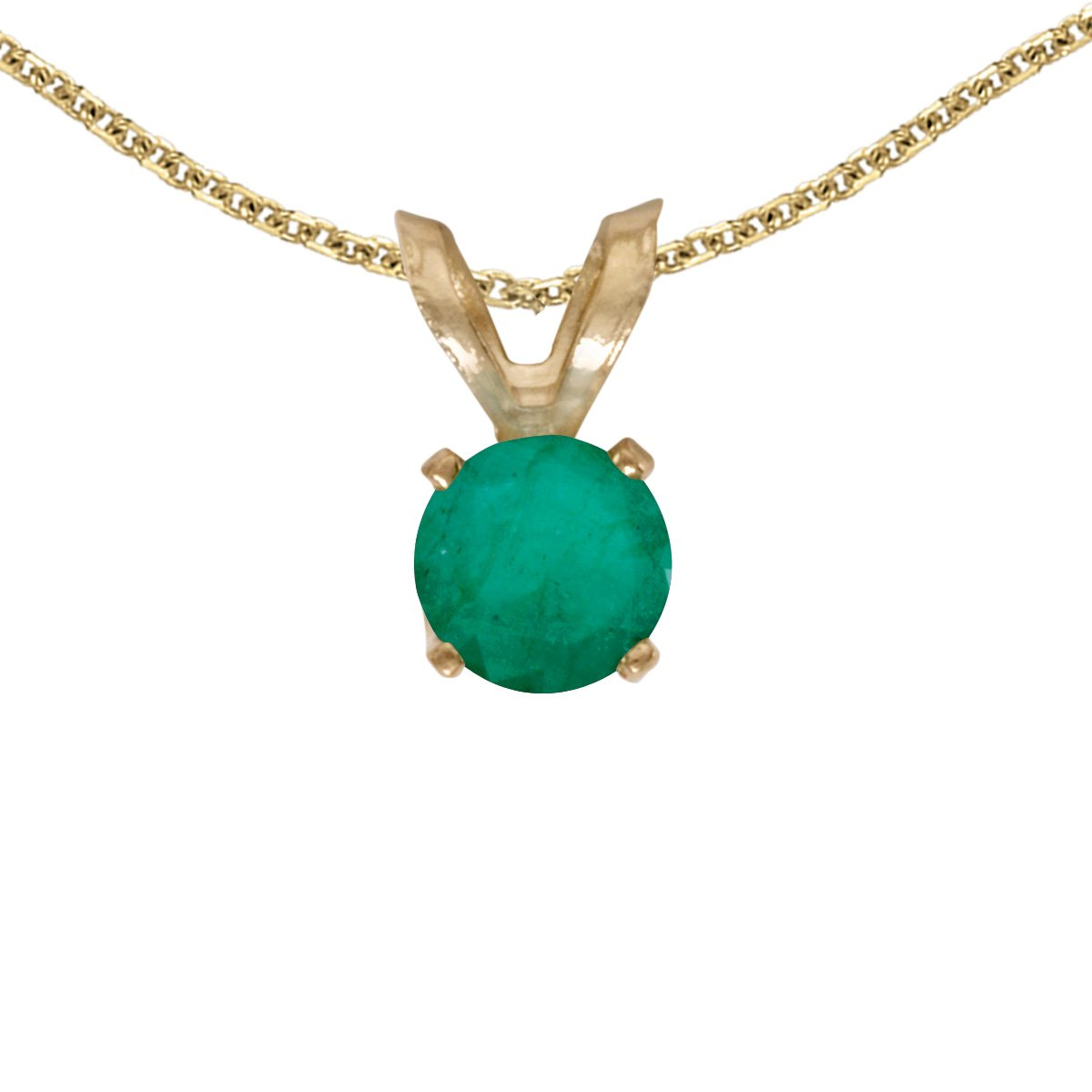 Jewels By Lux 14k Yellow Gold Genuine Birthstone Round Emerald Pendant (1/5 Cttw.)
