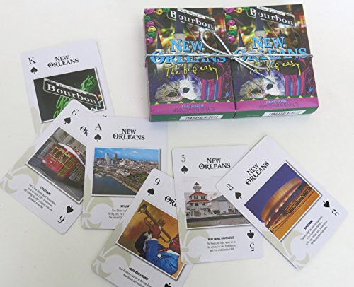 New Orleans, Souvenir, Playing Cards, Vacation Gift. Card Faces Feature Multiple Landmark Images Popular, Oustsanding Tourist Gift. The Two Deck Set Includes a Silver Gift (New Playing Cards)