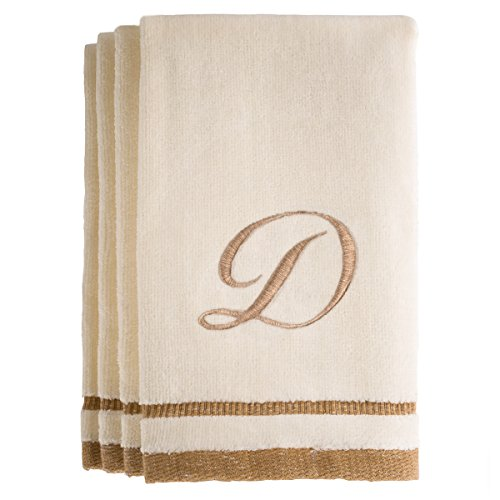 Hand Towel Gift Set - Monogrammed Gifts, Fingertip Towels, 11 x 18 Inches - Set of 4- Decorative Golden Brown Embroidered Towel - Extra Absorbent 100% Cotton- Personalized Gift- for Bathroom/Kitchen- Initial D (Ivory)