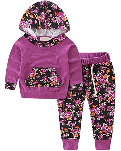 Infant Sweatsuit - 2 Pieces Outfit, Long Sleeves Vintage Floral Sweatshirt Pullover & Harem Jogger Pants Set Jogging Sweatsuit for Infant, Toddler Baby & Little Girls, Purple 6-12 Months = Tag 80