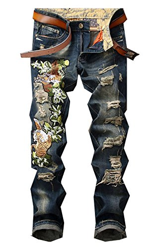 Allonly Men's Fashion Slim Fit Straight Leg Colorful Patchwork Jeans Pants with Broken Holes