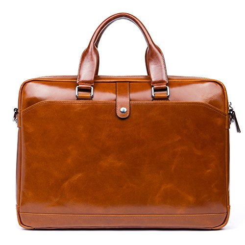 MANTOBRUCE Leather Briefcase for Men Women Travel Work Messenger Bags 16'' Laptop Shoulder Handbag by MANTOBRUCE