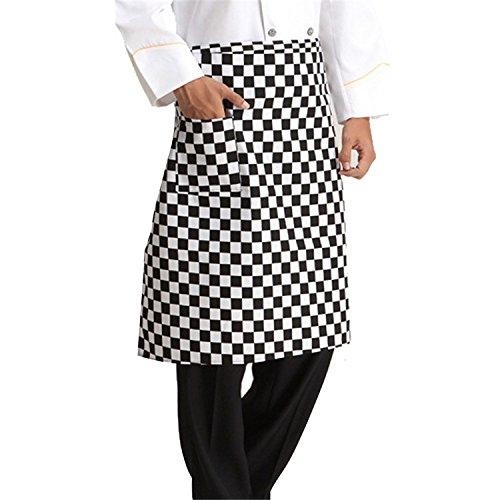 Plaid Half Apron - Yunhigh Plaid Unisex Waist Aprons with Pockets Waterproof Half Bistro Apron Bartender Serving Apron Long Kitchen Cooking Chef Apron