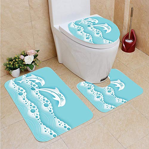 (3 Sets of Bathroom Home, Bathroom Carpet + Contour pad + lid Toilet seat,Paper sea Waves and Couple of Dolphins Paper Cut deep Style Vector Marine Wildlife Origami Style with)