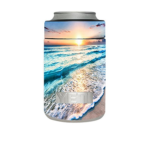 Skin Decal Vinyl Wrap for Yeti Rambler Colster Cup / sunset on beach