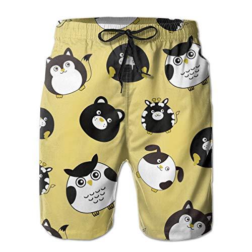Angry Owl Cat Bear Seals Swim Trunks Surfing Beach Beachwear Sports Running Board Shorts for Men White ()