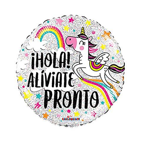 - Aliviate Pronto - Get Well Soon Balloon with Magical Unicorn & Rainbow in Spanish Espanol Unicornio Arco Iris - Feel Better Gift Cute Sweet