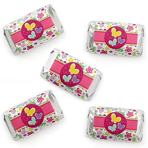 - Playful Butterfly and Flowers - Mini Candy Bar Wrapper Stickers - Baby Shower or Birthday Party Small Favors - 40 Count