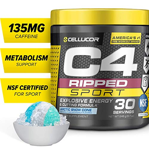 C4 Ripped Sport Pre Workout Powder Artic Snow Cone   NSF Certified for Sport + Sugar Free Preworkout Energy Supplement for Men & Women   135mg Caffeine + Weight Loss   30 Servings