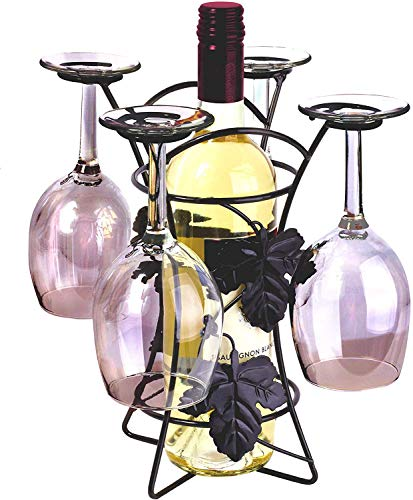 Ideas In Life Metal Wine Bottle and Glass Holder - Countertop Storage Wine Rack Stand Holds 1 Bottle and 4 Wine Glasses Free Standing Home Décor - Black (Bottle Wine Wine Glass Holder)