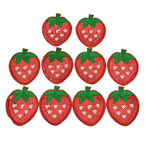 BetterUS 10Pcs Cute Strawberry Appliques With Sequins Fruits Patches Decoration DIY Sewing Embroideries