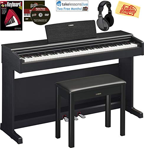 Yamaha Arius YDP-144 Traditional Console Digital Piano - Black Bundle with Furniture Bench, Headphones, Fast Track Music Book, Online Lessons, Austin Bazaar Instructional DVD, and Polishing Cloth