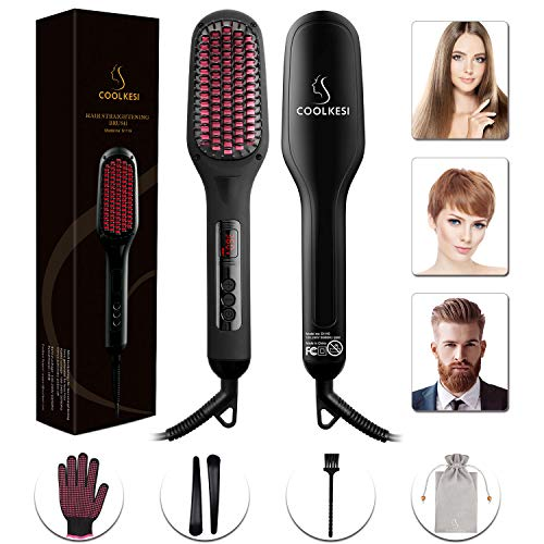 Ionic Hair Straightener Brush by COOLKESI, 30s Fast MCH Ceramic Heating Hair Straightening Brush with Anti Scald Feature, Auto-Off & Dual Voltage, Portable Frizz-Free Silky Electric Straightening Comb