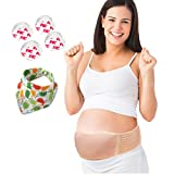 Maternity Belt - Pregnancy Belt (49 inches) + 4 Bonus Baby Corner Guards + 1 Cute Baby Bib - Lower Back and Pelvic Support - Adjustable Prenatal Cradle by Humhumhome - 1 size, Beige